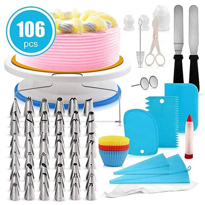 2018 Hot Sale plastic cake turntable tools set rotating cake decorating tips set / cake stand / cake decorating kit tools