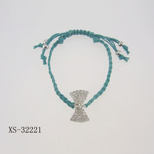 Korea style hand made colorful Imitation suede bracelet with rhinestone