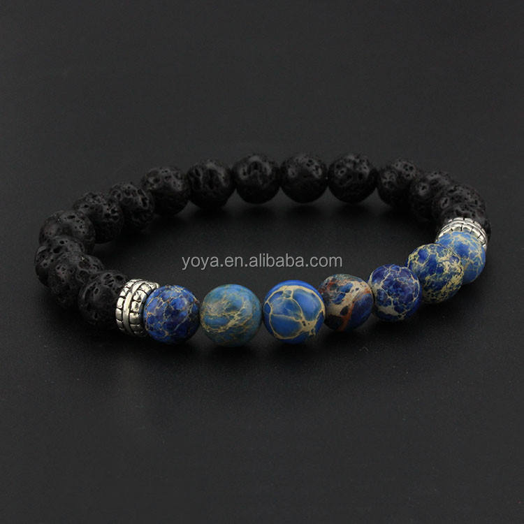 BRA1175 Hot sale 2015 fashion lava& imperial jasper stone beaded elastic bracelet