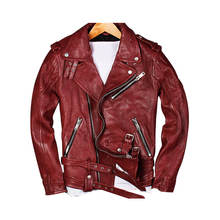 Classic Style Red Veg.Tanned Leather Biker Pilots Jacket Men