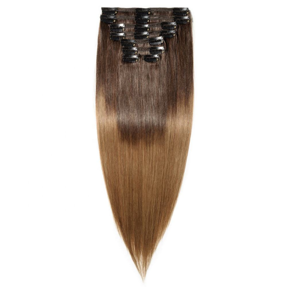 Highest grade grade 12A seamless PU clip in 100% human hair extensions for white women