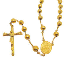 Olivia Rosary Beads Christianity Heavy Gold Chain Lady of Guadalupe Pendant Beaded Necklaces Men