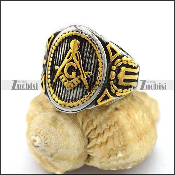 Exquisite Design Silver Tone Vertical Stripes Golden Engraved Masonic Pattern Oval Signet Ring