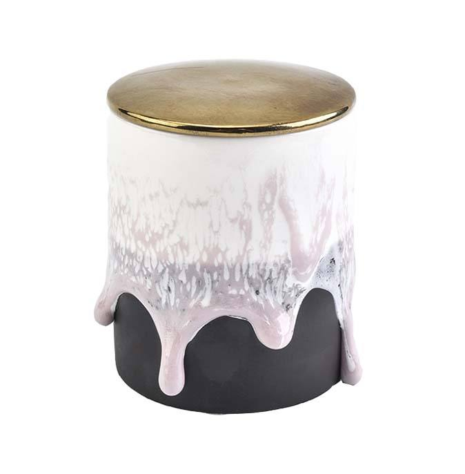 new design ceramic milky candle vessel with lid