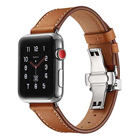 BOX-W Compatible con <span class=keywords><strong>Apple</strong></span> Watch banda 38mm 40mm 42mm 44mm cuero reloj banda Iwatch serie 1, 2, 3, 4