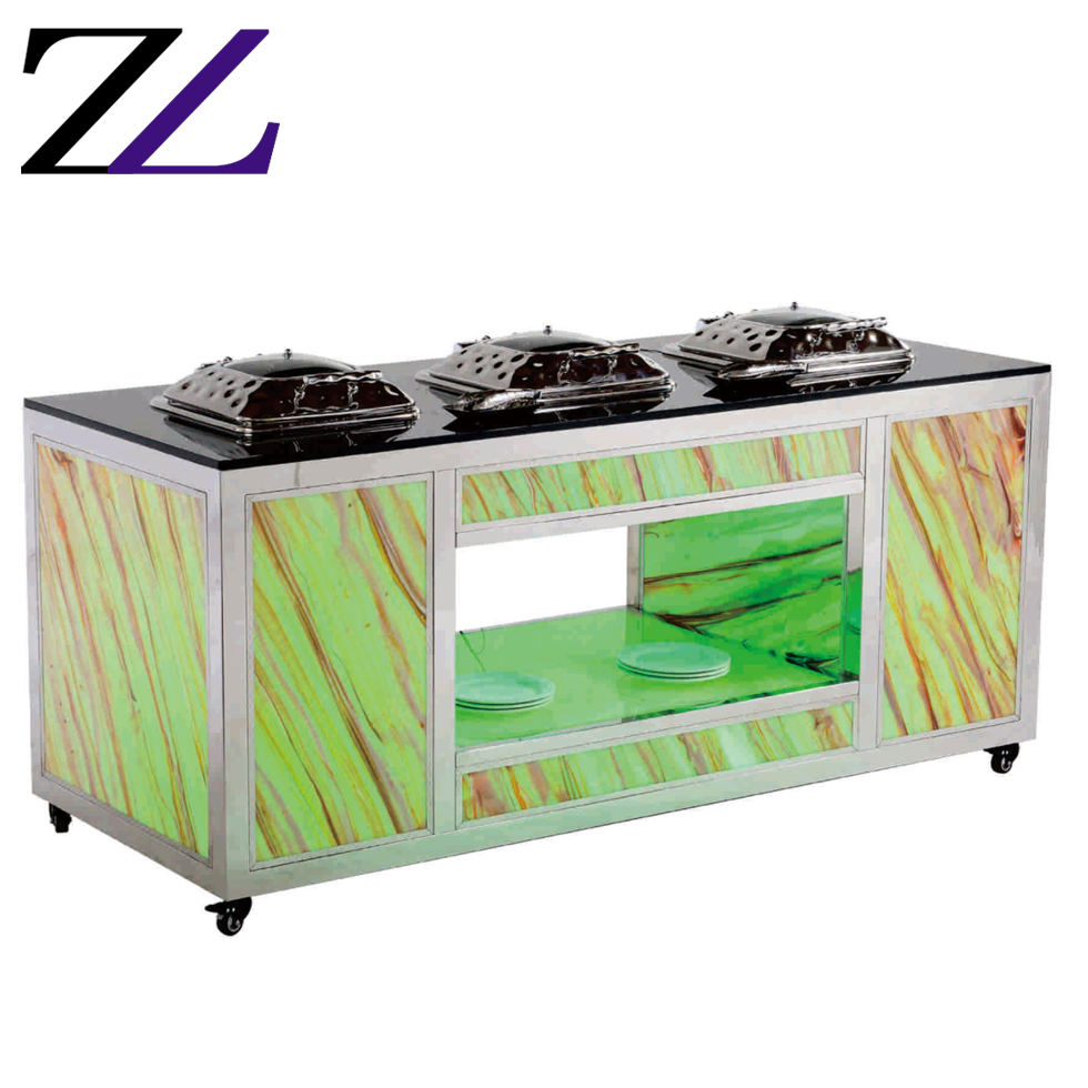 Induction equipment for keeping food hot LED coloful food warmer restaurant buffet server set station luxury marble dining table