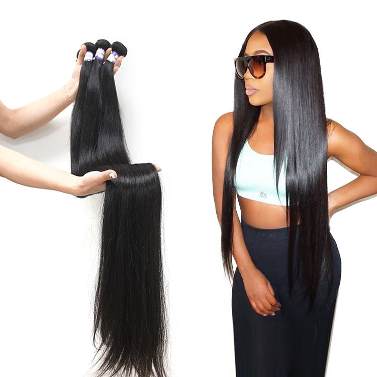 Wholesale 32 34 36 38 40 inch free sample cuticle aligned 10a grade Brazilian long straight virgin human hair bundle extension