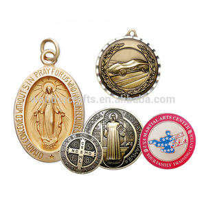 miraculous engraved diamond cut edge imitation enamel metal color iron cross st benedict coin medal manufacturer medallas