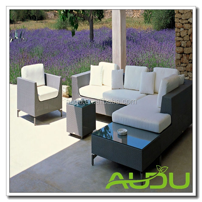 Audu contemporáneo sofá de la esquina exterior establece gris <span class=keywords><strong>muebles</strong></span> de jardín de ratán