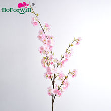 Hoforwill factory direct sale best price home wedding decorative flower artificial silk flowers cherry blossom flowers branch