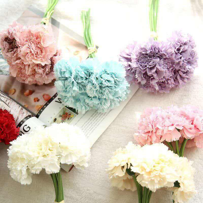 wholesale real touch silk artificial flower bouquet carnation