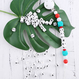 10mm Silicone letter BPA free Beads for Baby Teething DIY Letter Beads