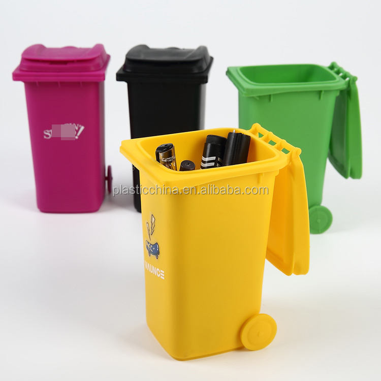 BT05B colorful desktop plastic mini trash can pen holder