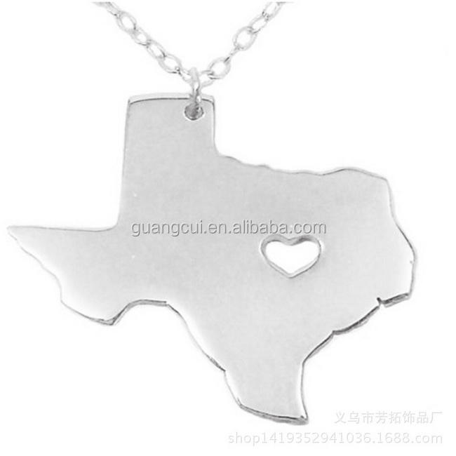 Los Estados Unidos tour souvenir de acero inoxidable Texas mapa collar