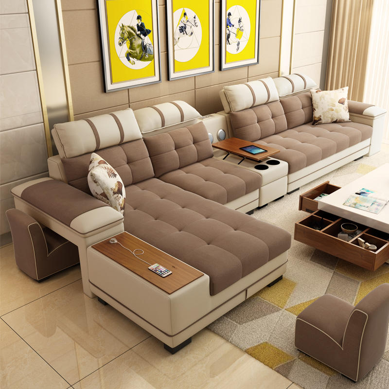 New model Functional PU Fabric recliner sofa headrest adjustment Corner couch Multimedia Function Home Sofa