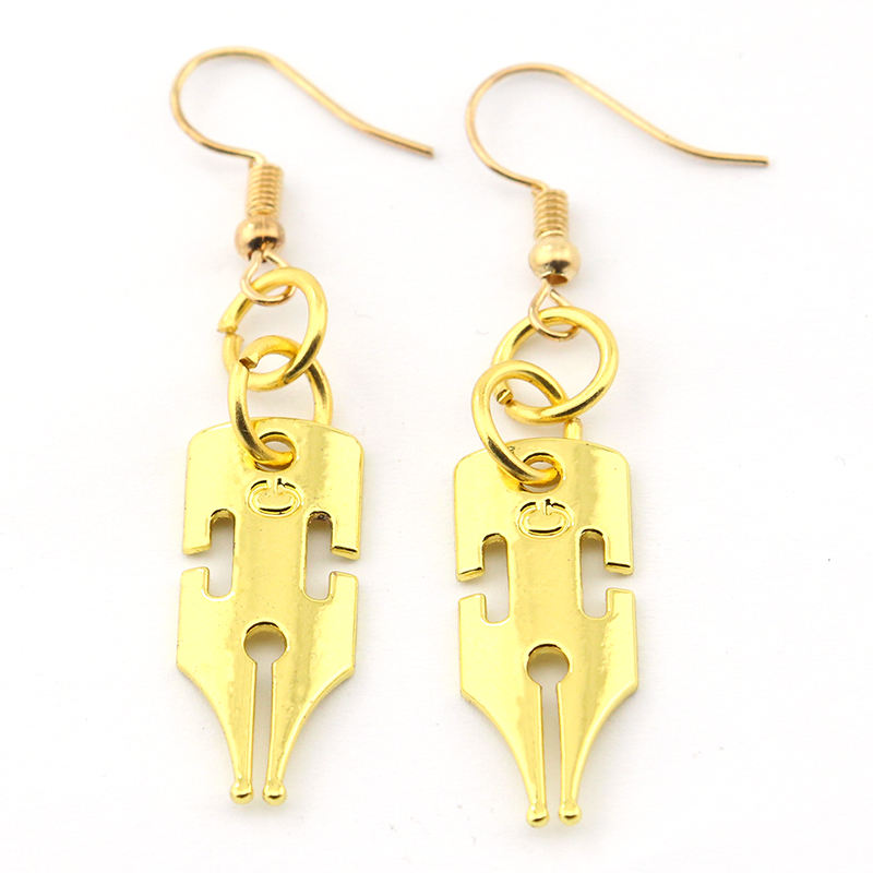 Fashion Anime JoJos Bizarre Adventure Gold Plated Metal Handmade Earrings For Women Gifts