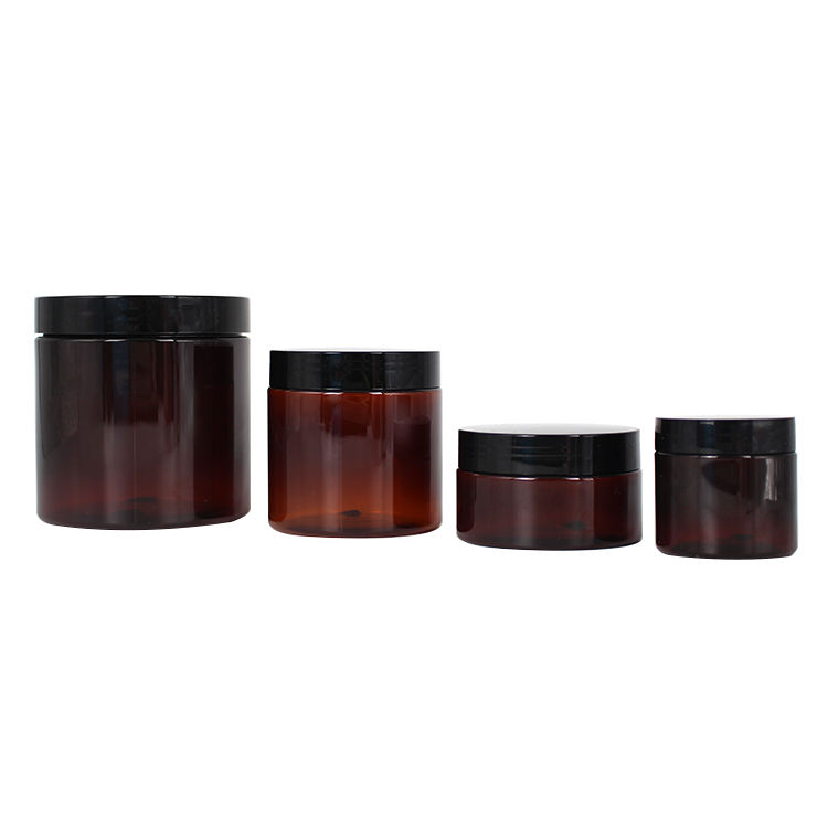50ml 100ml 200ml 500ml wholesale empty pet amber plastic cosmetic cream jar containers with pp lid