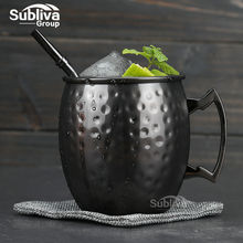 Hammered Gunmetal Plated Moscow Mule Mug 550ml Stainless Steel Cocktail Mug with Handle