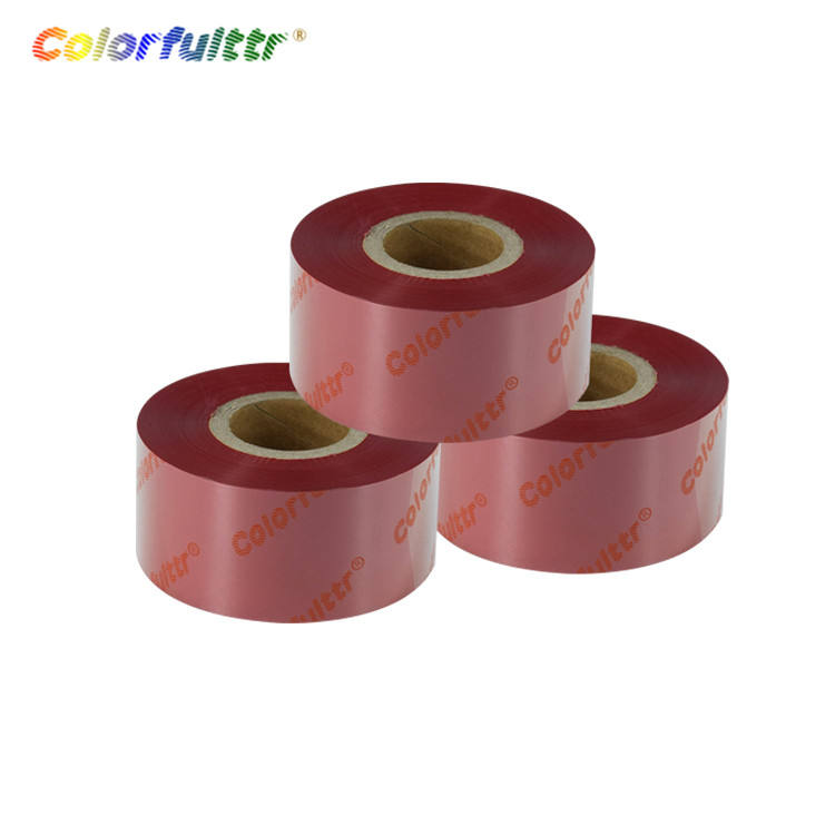 Wash resin carbon material printer ribbon red compatible TTR ink ribbon for thermal satin printing