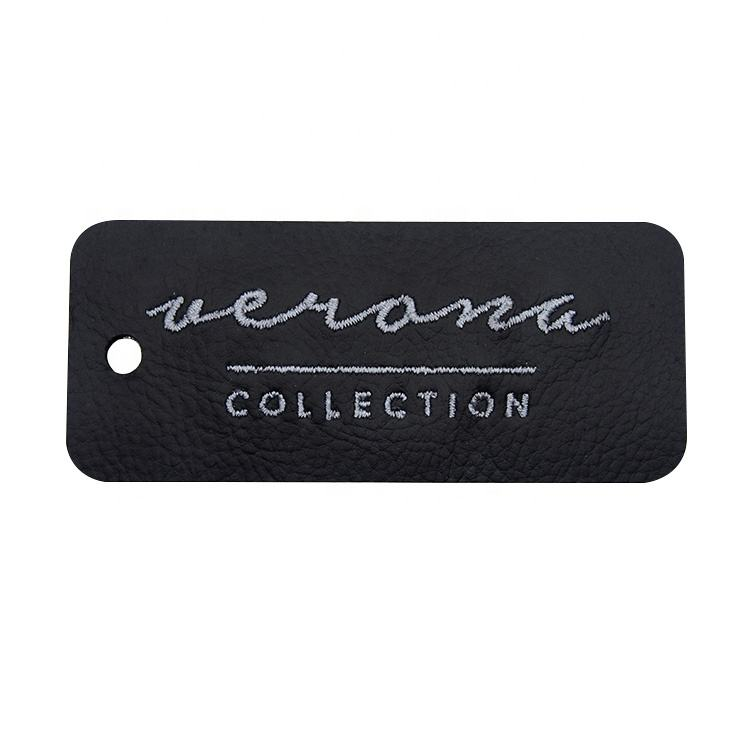 Leather Printing Patch Embossed Leather Hang Tag For Jeans