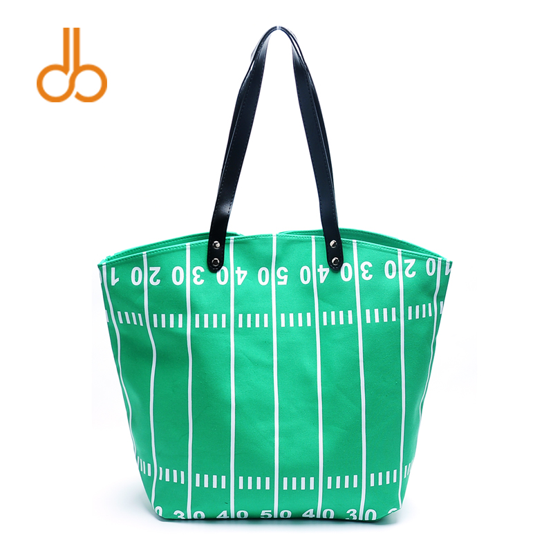 Wholesale Supplier Green Football Tote Bag Canvas Large Carryall Handbag Personalized Football Field Tote Bag DOM-108374