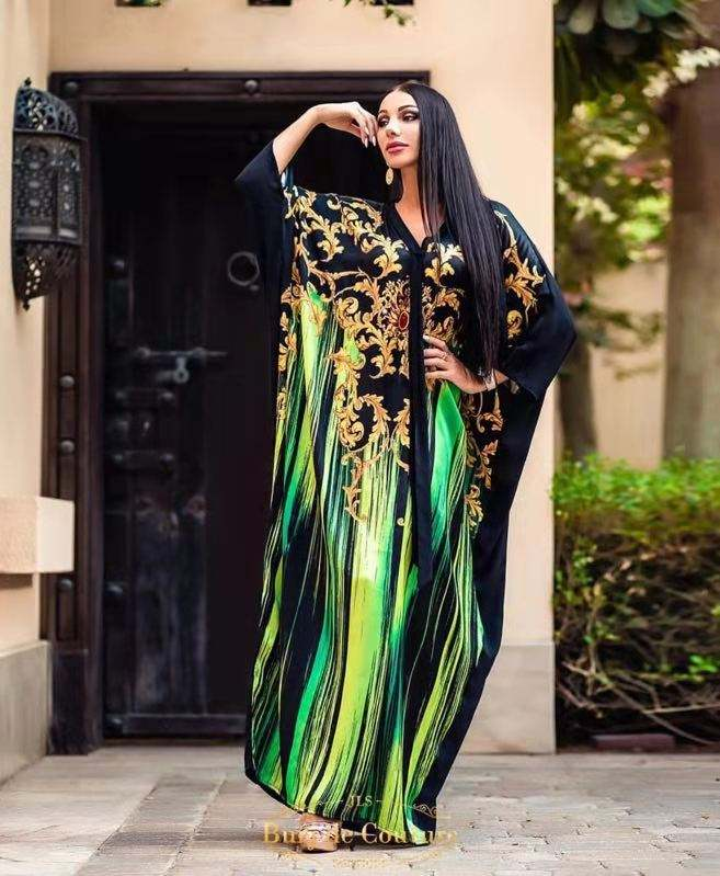 nigerian european fancy kaftan jalabiya digital printing islam jilbab long dress