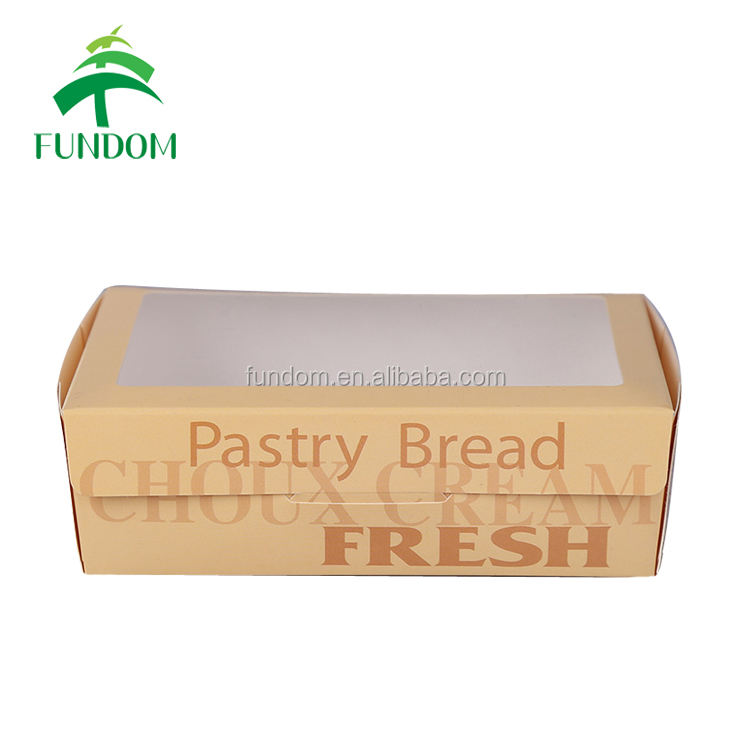 custom logo fresh pastry bread packaging disposable recyclable cheap paper to go boxes for bakery bakeshop