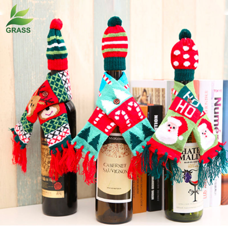 2019 High Quality knitted party dinner table ornament crochet Christmas wine bottle cover