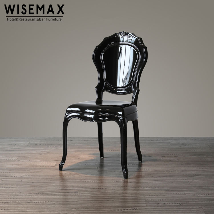 Modern Leisure dining clear resin bella plastic French Louis chairs black princess chair