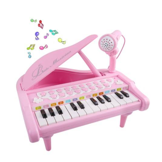 Mini Piano Electronic Organ With 24 Key Grand Keyboard Piano With Microphone For Girls Musical Baby Toy