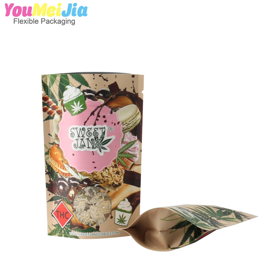 Eco-friendly kraft paper stand up tiger nuts packaging bags