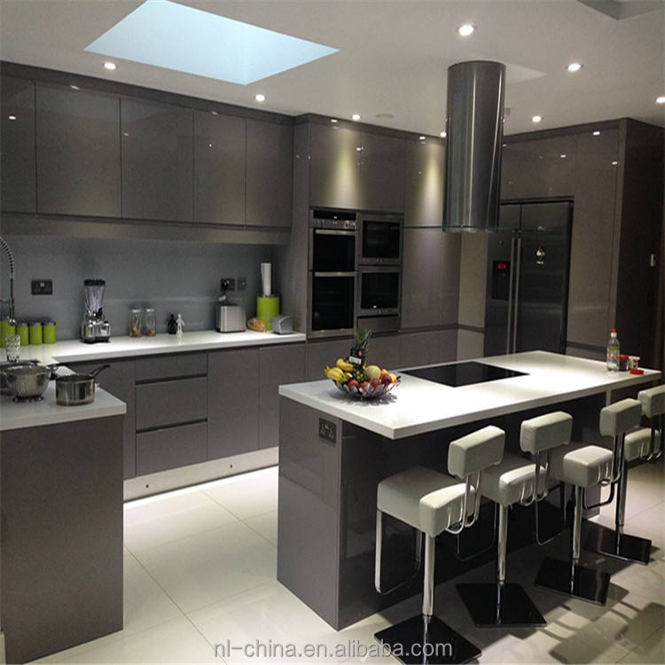 water- proof and scratch resistant grey high gloss painting kitchen cabinet complete kitchen units