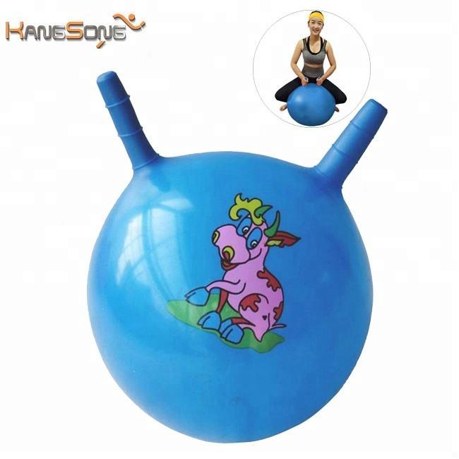 45 cm PVC personnaliser logo pompe inclus pas cher rebond saut bouncy ball avec poignée
