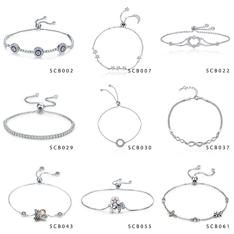 New Arrival Hot Sale Wholesale 925 Sterling Silver Custom Charm Bracelet Women