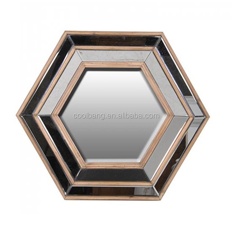 Clear 3d decorative wooden gold framed with lighted wall mount mirror