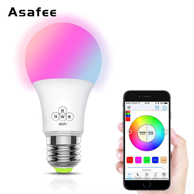Wifi intelligent LED ampoule RGBW Couleur changeante ampoule Intelligente e27 6.5 W domotique couleur dimmable edison ampoule
