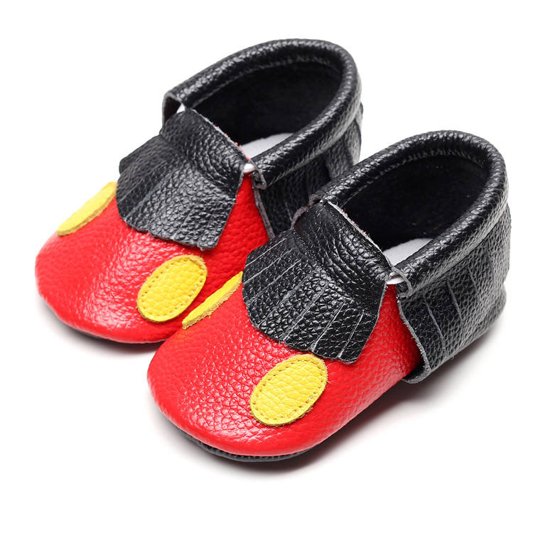 New Cartoon Baby Moccasins Shoes Baby Boys Girls Genuine Leather Baby Shoes Infant Crib Walking Shoes 0-24M