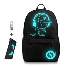 Anti-thief Bags Nightlight Children School Backpack With Pencil Case Anime Luminous School Bags For Boy Girl Student Schoolbag