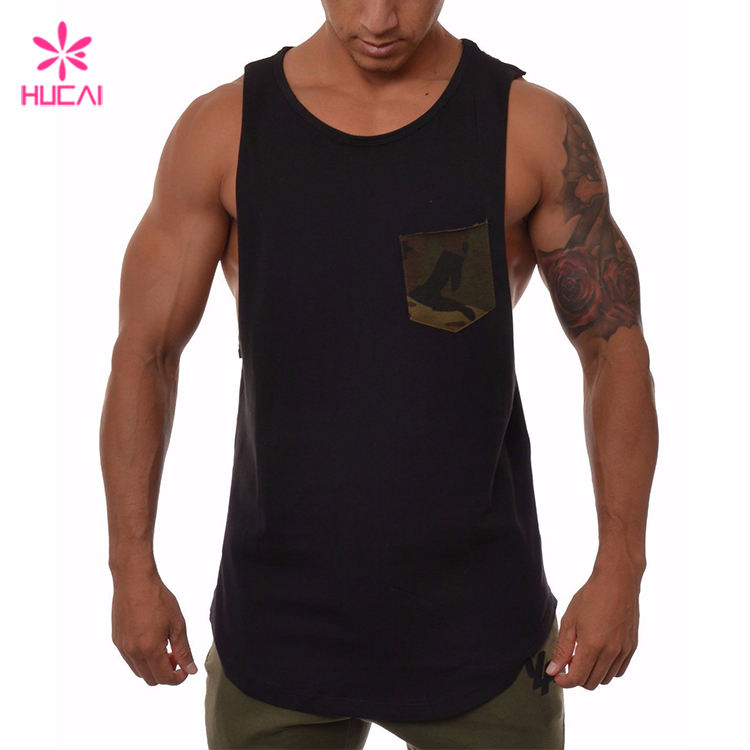 Custom Muscle Tank Top Mens Workout Shirt Sleeveless With Camo Pocket