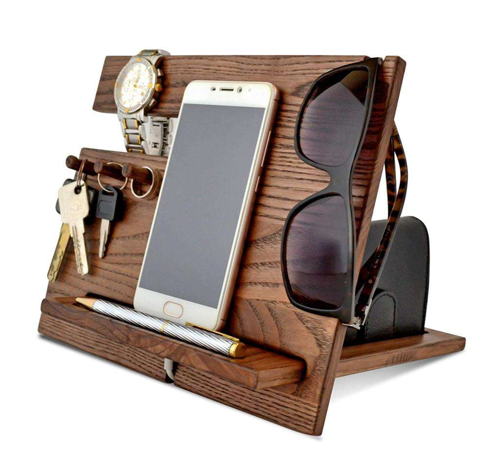 Hout Gsm Docking Station Met Horloge Stand, Houten <span class=keywords><strong>As</strong></span> Bureau Organizer Voor Mannen