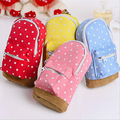 yes and novelty dot backpack style big capacity canvas pencil case