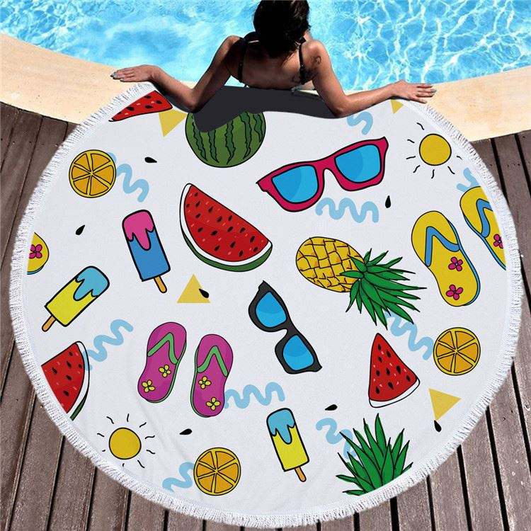 Fruits Print Pattern Round Beach Towel with Tassels