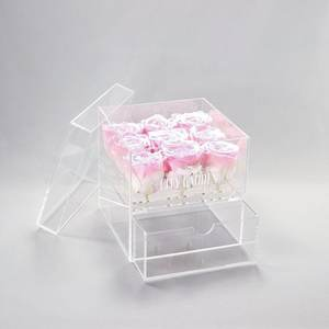 Printing Labels Million Rose Box Clear Acrylic Box For Packaging Box Acrylic Flower Case With Drawer On Sale