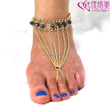 Barefoot Sandals Foot Jewelry Anklet Chain With Toe Ring Beach Anklet Foot Chain Body Chain Jewelry FC-60617