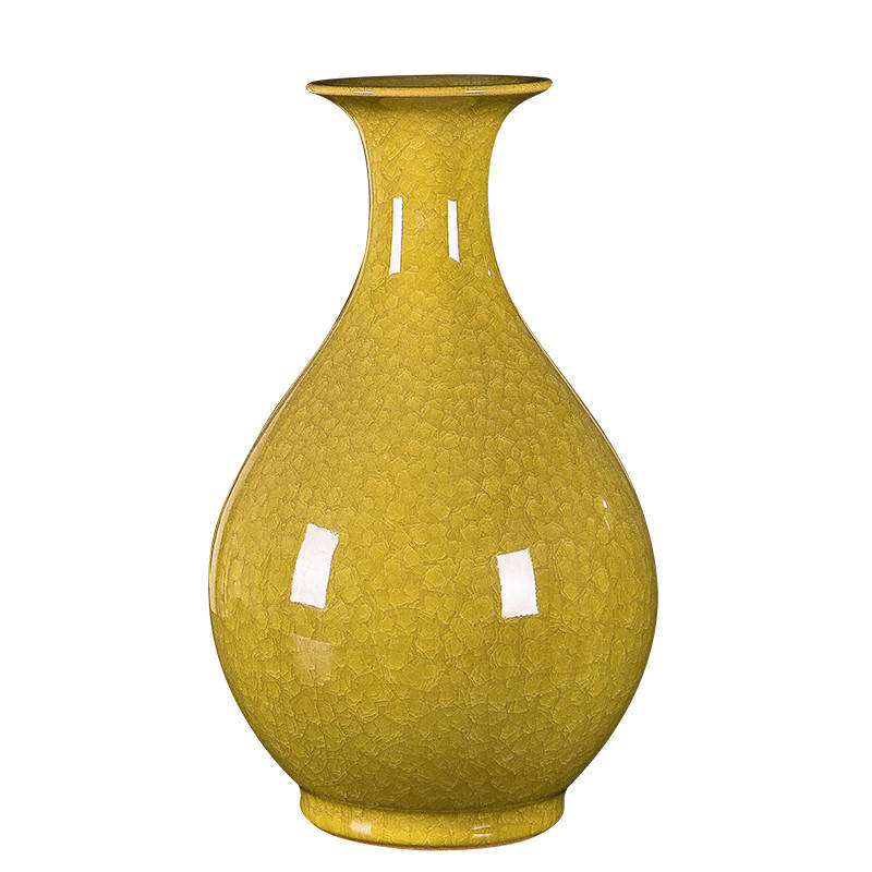 Beautiful chinese hand made yellow porcelain antique vases for wedding and home decoration
