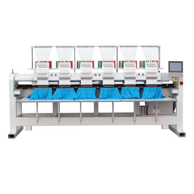 Guangzhou Computerized 6 Head industry Flat Embroidery Machine 12 Needles Monogramming Machinery For Tshirt CapTextile Fabric