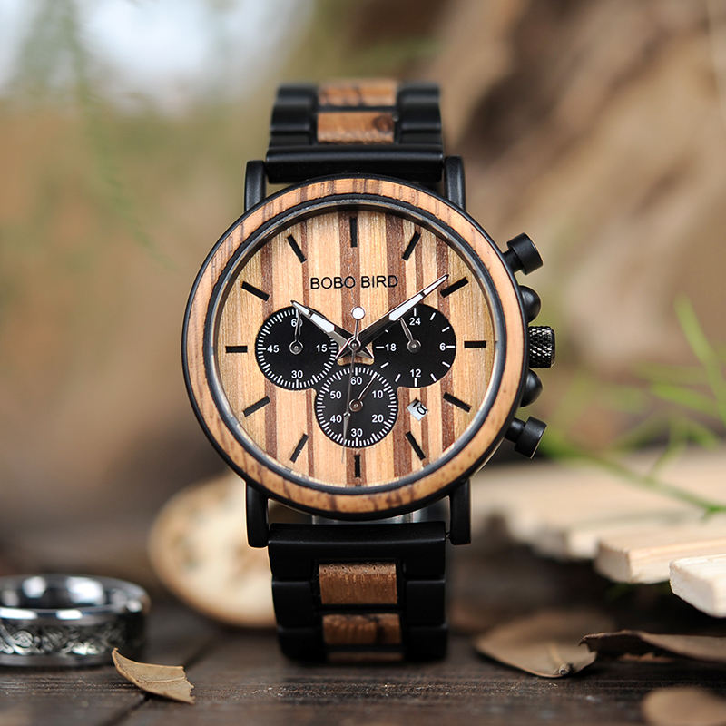 BOBO BIRD P09-1 Wooden Mens Watches Chronograph & Date Display Stop Water Resist Watch Top Brand Luxury Stylish