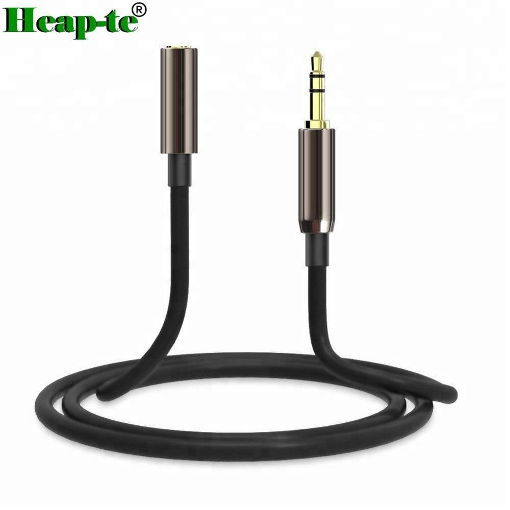 1 M 3.5 Mm MALE Ke Female Jack Kabel Ekstensi Memimpin Stereo Plug Aux Headphone Emas