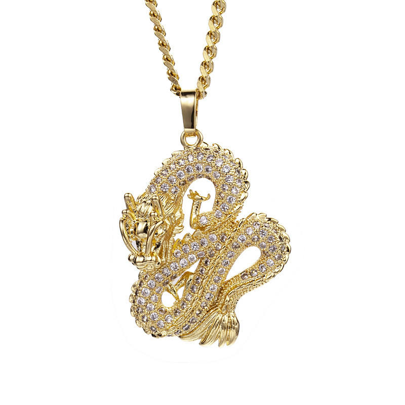 New Arrived 18K Gold Plated Micro Paved Zircon Dragon Necklace Pendant