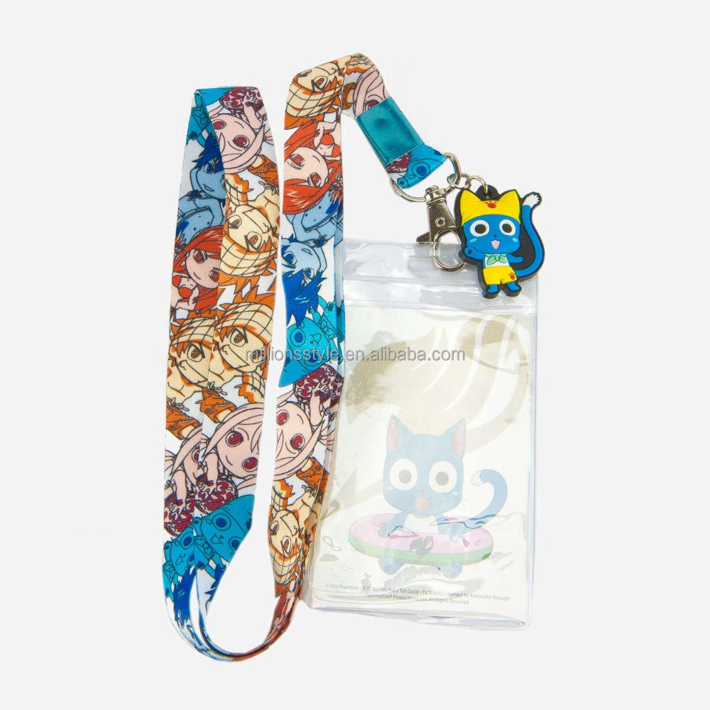 Customized dye sublimation lanyards, cartoon anime lanyards with custom badge